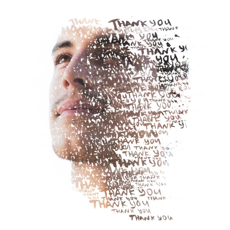 memish illustration of a man's face and the words 'thank you'